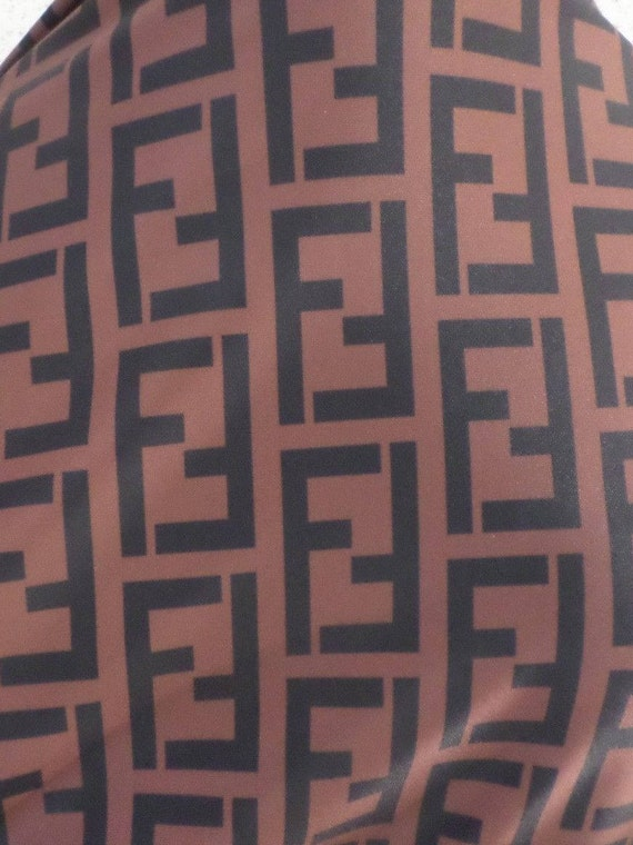 Fendi Inspired Designer Print Spandex Fabric By The Yard