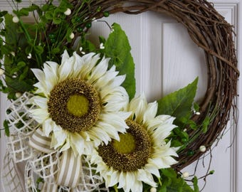Cream Sunflower and Foliage Grapevine Wreath; Handmade Wreath; Spring Floral Wreath; Spring Door Decor; Summer Wreath; Summer Door Decor