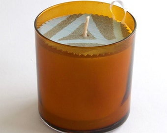 11 oz. Scented Natural Soy Candle Amber Glass Tumbler Eco Friendly Orla Soy Candle Rhode Island