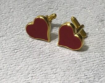 Gold Hearts cufflinks, Valentines cufflinks, Gold cufflinks, Hearts cufflinks, Love cufflinks, Lovers cufflinks