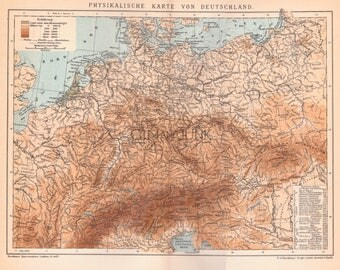 Antique Map Print - Original Antique Map Of Germany from 1908