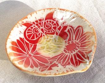Owl Spoon Rest, ceramic spoon rest flowers floral handmade pottery wheel thrown pottery spoon holder wheel thrown stoneware