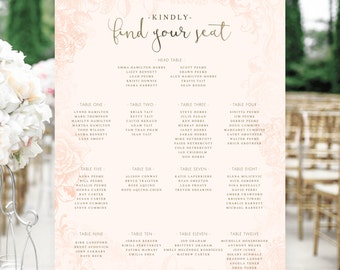 Custom Wedding Seating Chart - Guest List Seating Plan - Digital Download Seating Chart Sign - Wedding Stationery - 18x24 - 20x30 - 24x36