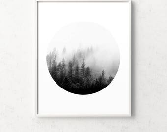 Forest print, forest art, minimalist wall art, black and white forest, misty forest, circle print, minimalist art, trees, affiche scandinave
