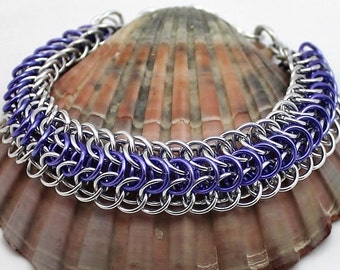 Silver and Lavender Chainmaille Bracelet, Aluminium Bracelet, Silver Bracelet, Lavender Bracelet, Chain Mail Bracelet