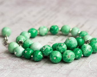 Green chunky bracelet, Lime green bracelet, Big bracelet, Chunky green bracelet, Chunky charm bracelet Green charm bracelet