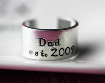 Father's day gift, dad cuff ring, personalised hand stamped ring, aluminium ring, rustic ring
