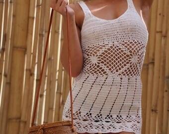 Crochet singlet dress, patterned singlet dress, crochet beach dress