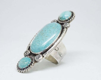 Turquoise ring,Turquoise sterling silver ring, Boho ring, Sterling Silver Gemstone Ring,Large Turquoise Statement Ring,Big Ring, SIZE 7.5 US