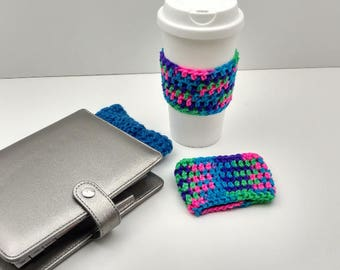 Bright Multi-Colored Crochet Cup Cozy: Coffee/Tea Sleeve    [063]