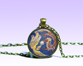 Phoenix Dragon Pendant Astrology NECKLACE Charm Pendant for Him or Her