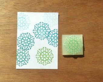 Spiky mandala stamp, mandala rubber stamp, mandala eraser stamp, texture stamp, handmade pattern rubber stamp, hand carved stamp