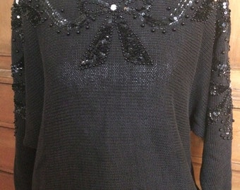 Vintage retro 80's black bat wing sweater sequins and beaded. Cute with botfriend jeans n booties!