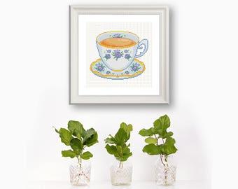 Vintage Teacup Needlework Pattern PDF Download Botanic Nursery Decor Modern Needlepoint Blossom Teacup Gift Tea Room Tea Lover Present