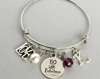 50th Birthday Bracelet, 50 and Fabulous, Personalized 50th Birthday Bracelet, 50th Birthday Gift for Women, Friend Birthday Gift, BDY003