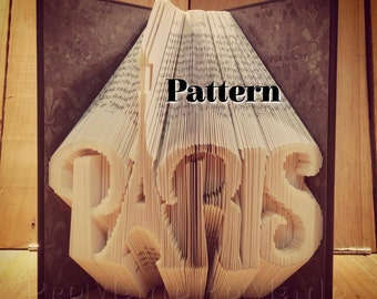 Paris w Eiffel Tower for A - Folded Book Art Pattern - Combination Fold - Instant Download!