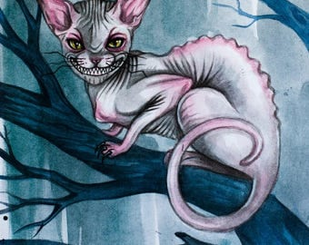 Postcard Cheshire Cat-Cheshire- Alice in Wonderland-cat-sphinx-bald cat-fairy tale