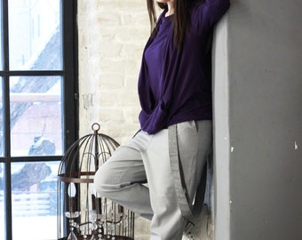 Violet Blouse/ Casual Top/Long Sleeves Top/ Womens Tops/Loose Blouse/Violet Tunic/Party Top/Asymmetrical Top/ Extravagant Stylish Top/R00042