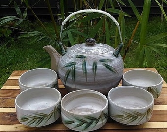 Japanese Tea Set Hand Made, Hand Painted Bamboo Design, Vintage Made in Japan Ceramic Tea Set For Five, Tea Pot and Chawan Style Tea Cups