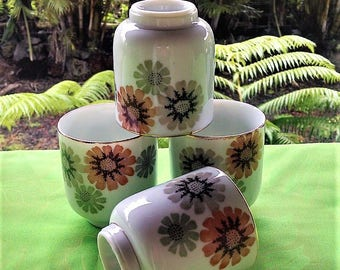 Tea Cup Set of Four(4) Made in Japan Glazed Ceramic Hand Made, Hand Painted Floral/Daisy Design, Retro Kitchen, Vintage Japanese Drink ware