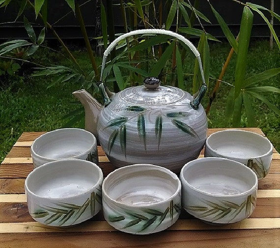 Vintage Japanese Hand Made, Hand Painted Bamboo Design Tea Set, Made in Japan Ceramic Tea Set For Five, Tea Pot and Chawan Style Tea Cups