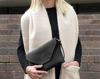 Genuine leather envelope clutch, Leather purse, Black handbag, gift for her