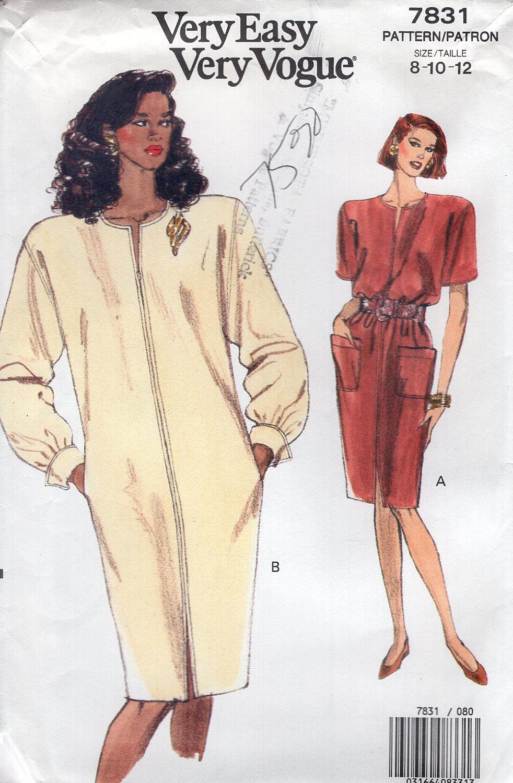 Vogue 7831 gratis nos nave coser patrones Retro de 1990 90 recto ...