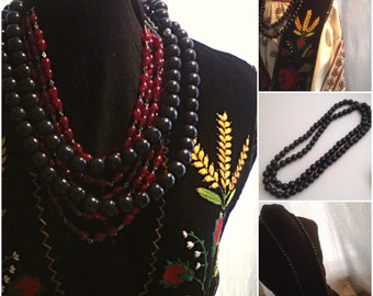 SALE /Long single strand black wood beads necklace, black beads