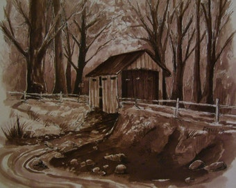 Covered Wooden Bridge,Lazy Stream, 16 x 20 Original Watercolor,ONE OF A KIND, Not a Print