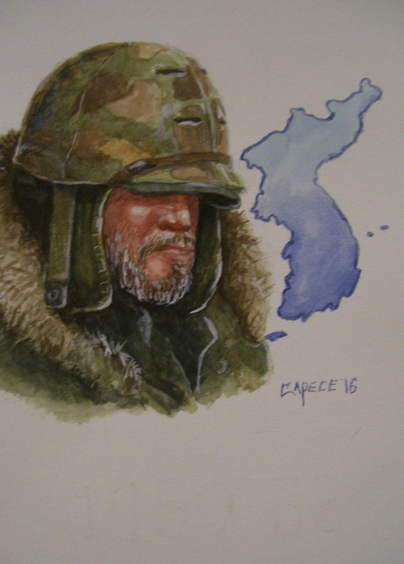Korean War-Cold of Winter,16x20 Original Watercolor Painting,One of a Kind, Not a Print,Free Shipping Code SKYE2