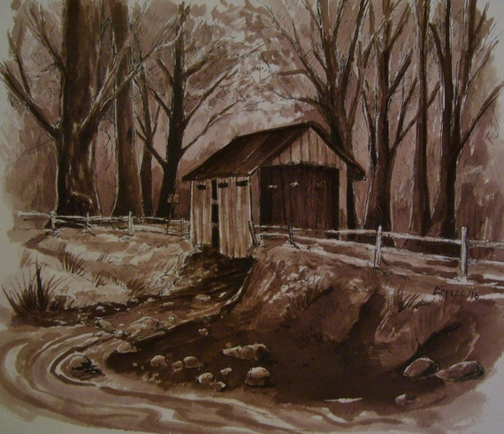 Covered Wooden Bridge,Lazy Stream, 16 x 20 Original Watercolor,ONE OF A KIND, Not a Print,Free Shipping Code SKYE2