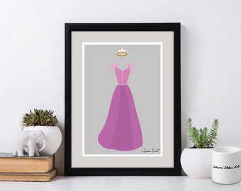 Disney's Rapunzel Poster/Print - minimalist rapunzel hair flynn tangled poster art decor