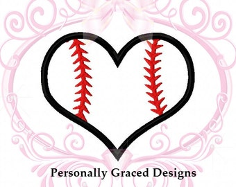 Instant Download Baseball Heart Applique Machine Embroidery Design 3in, 4in, 5in, 6in, Softball Applique, Softball Heart, Sports Embroidery
