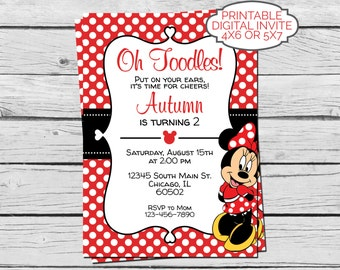 Red Minnie Mouse Birthday Invitation - Digital File