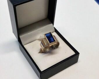 17.1 mm ring 925 Silver Crystal elegant dark blue rectangular stainless SR693