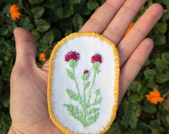 Hand Embroidered Flower Patch Purple Thistle Gold
