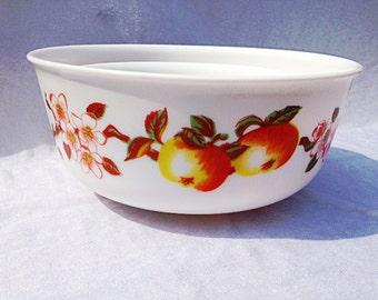 Arcopal France Dinnerware Dishes Apple Blossom Bowl Set Of 3 Apples Apple Blossoms Milk Glass Bowls