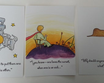 The Little Prince Small Watercolour Painting and Quote Antoine de Saint-Exupéry A5 Hat Boa Constrictor Sunset Elephants