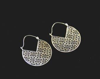 SALES !!SAYAGATA Geometric Earrings - Bronze - Ethnic - Design - Boho - Gypsy - Travel - Original - Japanese - Pattern