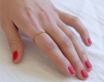 minimalist ring with ball brass