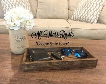 Rustic Wooden Tray, Rustic Key Holder, Rustic Decor, Key Holder, Key Holder Tray, Wooden Tray, Wallet Holder, Key Organizer, Gift for Him