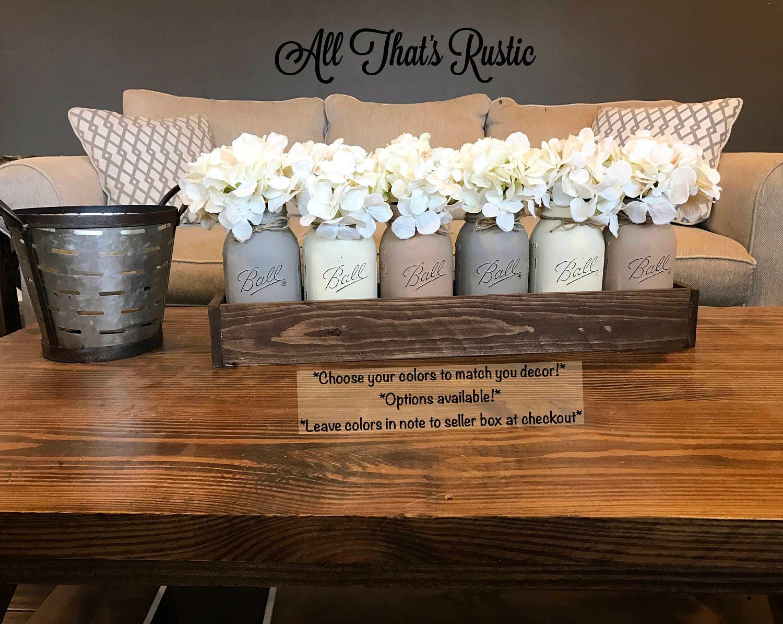 Large Mason Jar Centerpiece Table Centerpiece Table Decor
