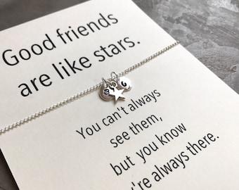 Bff necklace, Bff jewelry, Friendship necklace, Initial necklace, Bff gift, Good friends, Best friend necklace, Best friend gift, A5