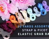 20 YDS Assorted Strap & Picot Elastic Grab Bag