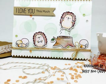 Handmade Card - I Love You This Much - Happy Hedgehogs