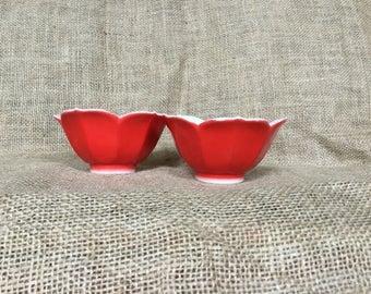 Vintage Lotus Bowls, Tulip Shaped Bowls, Vintage Red Lotus Bowls, Midcentury Porcelain Bowls, Made in Japan