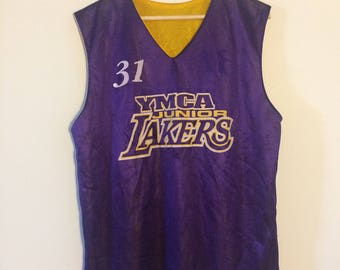 Vintage Basketball Jersey Los Angeles Lakers Jersey YMCA Shirt Reversible Jersey 90s Hip Hop Clothing 90s Hip Hop Party 90s Shirt
