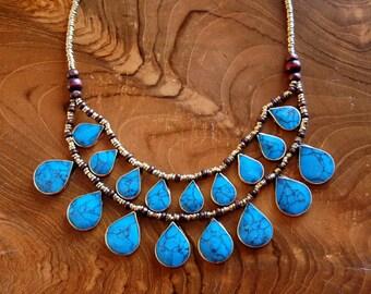 Turquoise Cassidy Bib Necklace- Afghan Tribal Jewelry- Kuchi Necklace- Ethnic Necklace- Boho- Gypsy Necklace- Hippie- Nomadic- Handmade