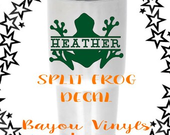 Frog decal, Personalized decal, Frog car decal, Back to school decal, Tree frog decal, Yeti decal, Tumbler decal, Window decal, 30oz decal
