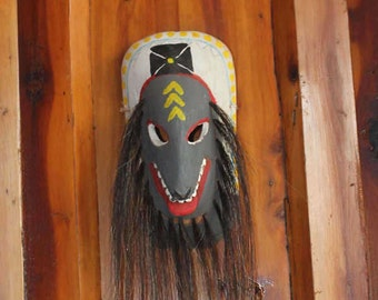 Mexican Folk Art Carved Wood Mask with Horsehair